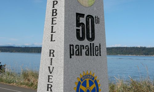 50th Parallel Marker along the Sea Walk